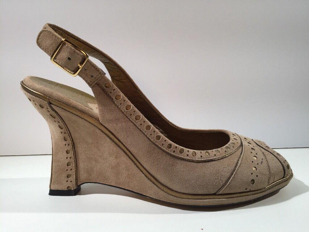 COLE HAAN Perforated Peep Toe Wedges 9.5 B NikeAir