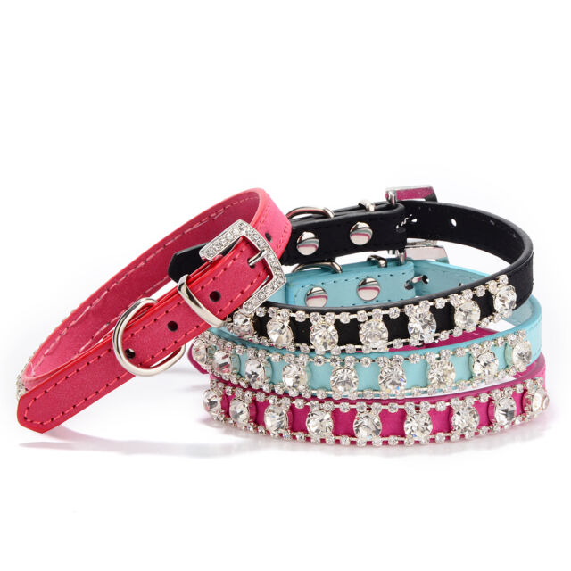 Hot Dog Cat Puppy Collars Big Large Diamond Rhinestone Leather Crystal Buckle