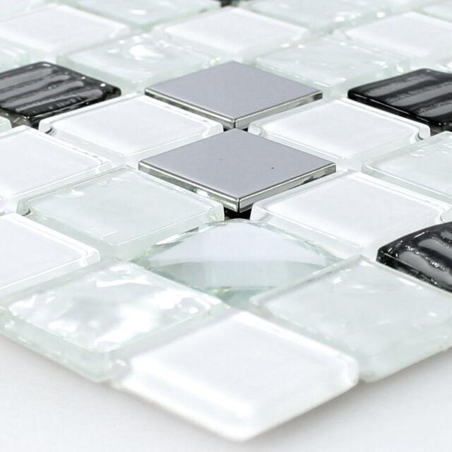 MUSTER Mosaikfliesen Selbstklebend Glas Edelstahl Weiss Silber