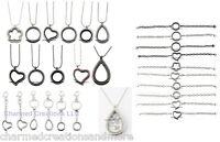 28pc Lot 25mm 30mm Round Heart Floating Charm Locket Bracelets Necklace Keychain
