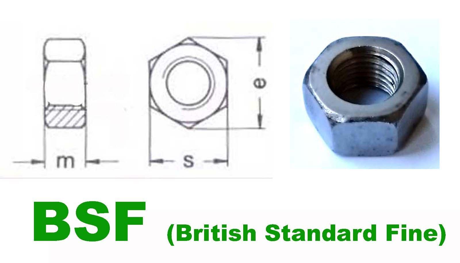 5/8 BSF Full Nuts - Classic/Vintage Thread British Standard Fine - Pack of x5