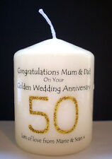 Item 3 Personalised 50th Golden Wedding Anniversary Candle Keepsake Gift