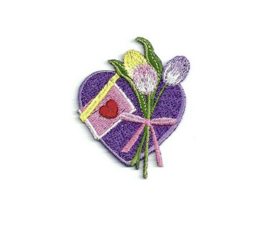 Love Valentine/'s Day Purple Tulips Embroidered Iron On Patch Heart