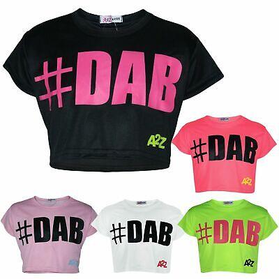 Kids Girls Crop Top #dab Stylish Floss Fashion Trendy T Shirt Tops Tees 5-13 Yr Regular Tea Drinking Improves Your Health