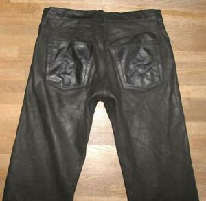 "fette "" MASS "" Herren- LEDERJEANS / Nubuk- Lederhose in schwarz ca. W33"" /L30"""