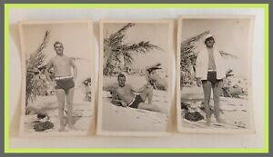 Vintage-Man-On-Beach-In-Swimsuit-Gay-Interest-Bulge-Lot-Of-3-Photos-H317