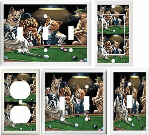 Dogs Playing Pool Billiards Game Room Decor Light Switch