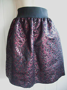 PIED-A-TERRE-BLACK-DARK-RED-JACQUARD-LOOK-SKIRT-SIZES-8-10-12-14-16-BNWOT