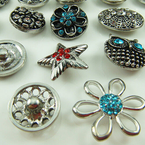 HK- Set 10Pcs 12mm Mixed Colors Gorgeous Rhinestone Bracelet Charms Snap Buttons Charms & Charm Bracelets