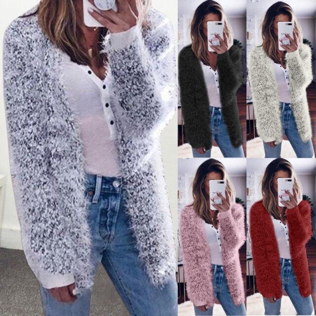 Women's Faux Fur Fluffy Coats Winter Ladies Long Sleeve Cardigan Jacket Outwear