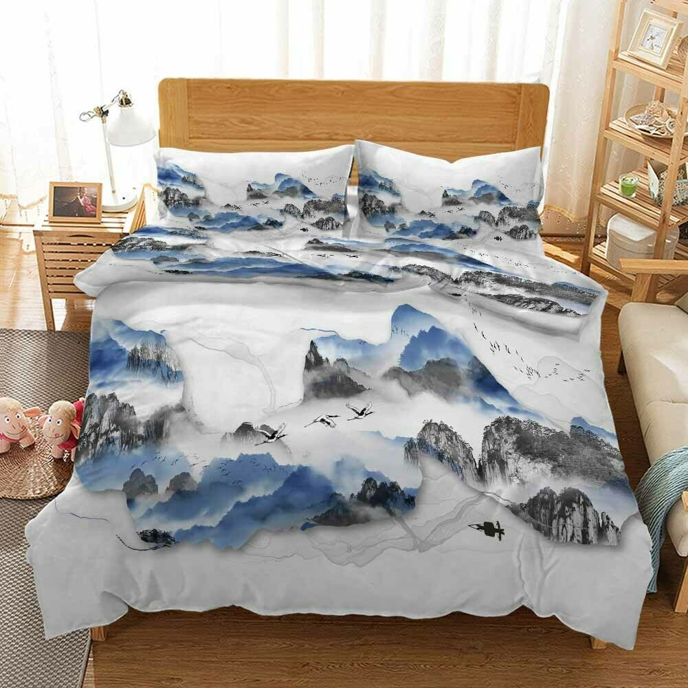 Cyan Lines Sky 3D Druckening Duvet Quilt Will Startseites Pillow Case Bettding Sets