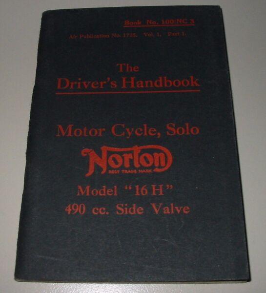 Agressief Driver´s Handbook Norton Motor Cycle Solo Model 16 H 490 Cc Side Valve!