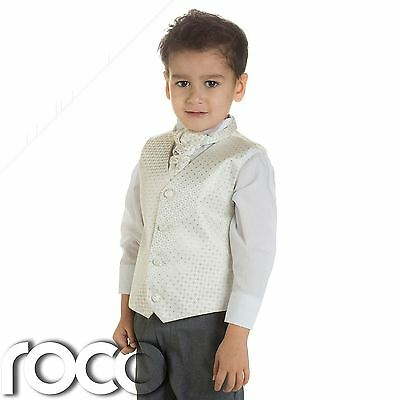 Faithful Baby Boys Ivory & Grey Waistcoat Suit, Page Boy Suits, Boys Wedding Suits