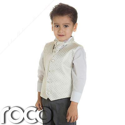 Faithful Baby Boys Ivory & Grey Waistcoat Suit, Page Boy Suits, Boys Wedding Suits