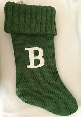 """Letter Initial Monogram /""""B/"""" Green Knit Christmas Stocking 18/"""" Wondershop Target"""