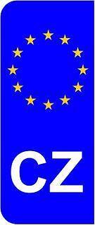 Pack of 2 Czech Republic CZ EU Euro Flag Car Number Plate Domed Sticker Decal