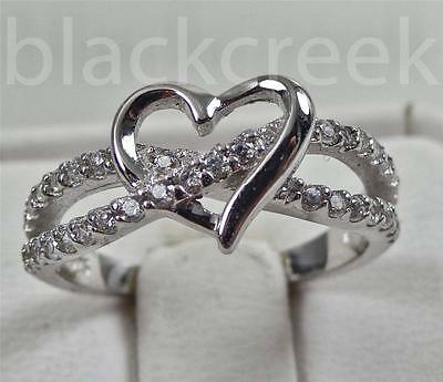 925 Sterling Silver ~ Heart Infinity Ring ~ Choose Size