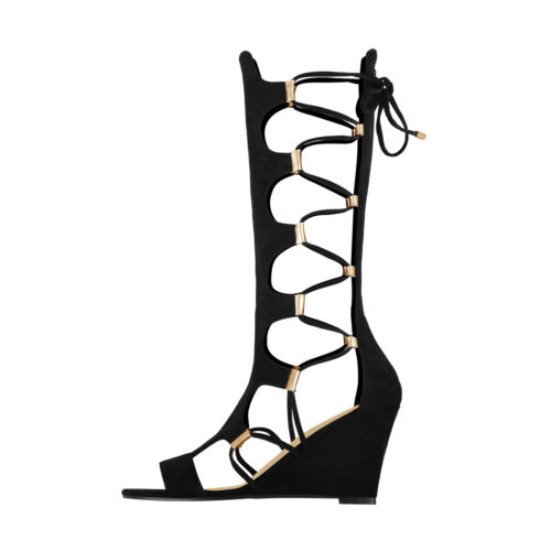 Onlymaker Womens Knee High Gladiator Wedge Sandals Lace Up Zip Beach Long Boots