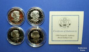 1979-S-1980-S-1981-S-amp-1999-P-1-Susan-B-Anthony-Dollar-4-Coin-Proof-Set