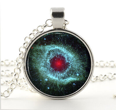 Red Eye Nebula Necklace - Galaxy Jewelry - Silver Gifts for Her - Universe Charm