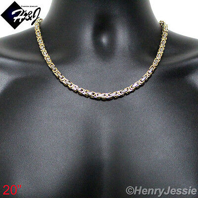 "18-40""MEN's Stainless Steel 4mm/6mm/9mm Gold Silver Byzantine Box Chain Necklace"