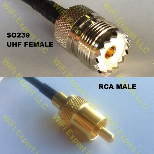 USA-CA RGU178  SO239 UHF Female to RCA MALE Coaxial RF Pigtail Cable