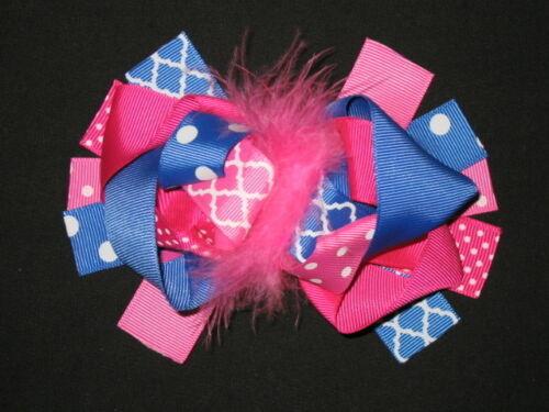 "NEW /""Hot Pink /& Blue QUATREFOIL/"" Fur Hairbow Alligator Clips Girls Ribbon Bows"
