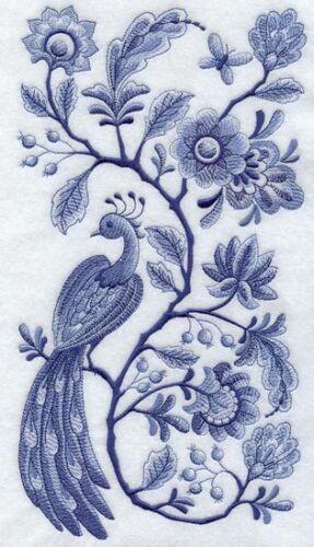 PEACOCK BLUE WORK EMBROIDER SET 2 BATHROOMED HAND TOWEL