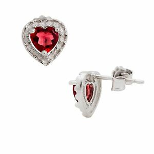 Natural-5mm-Heart-Cut-Garnet-925-Silver-Stud-Earrings