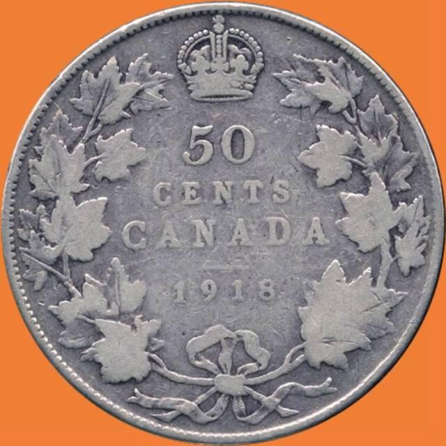 1918 Canada Silver 50 Cent Piece (11.66 Grams .925 Silver)