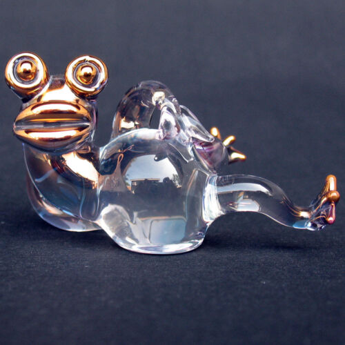Frog Figurine Collectible Sculpture of Blown Glass Gold