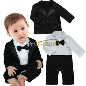 5a3565e29 Newborn Baby Boys Formal Suit Tuxedo Gentleman Romper Coat Outfit ...