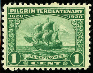 US-Scott-548-Pilgrim-Tercentenary-1-Mayflower-Green-1920-MH-FREE-SHIP
