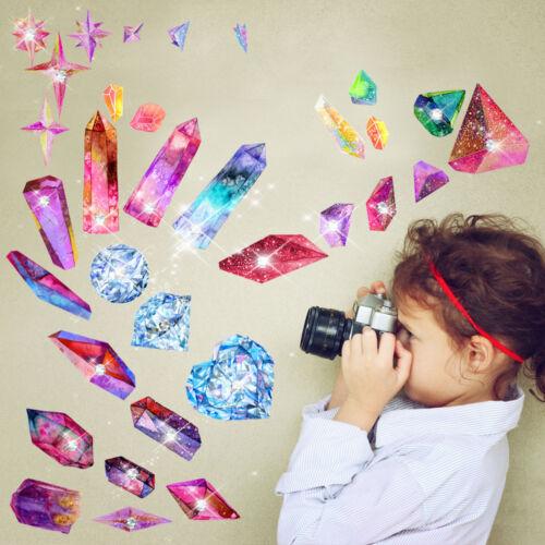 Aufkleber mit funkelnden Kristallen Sticker DIY Wandtattoo Planet Federn Blumen