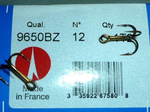 BULK 25 BRONZE SIZE 12 VMC REGULAR-SHANK 1X TREBLE HOOKS 9650 9650BZ