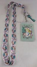 New Loungefly Disney Alice In Wonderland Lanyard ID Pin Holder W/Charm Neckstrap