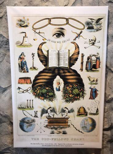 Currier /& Ives Odd Borsisti Chart Nuovo Stesa Avvolto Tela Riproduzione 1887