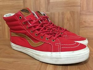 acf13e5a2c VTG🔥 VANS SK8-Hi Thick Red Canvas Brown Leather Jazzy Stripe Sz 11 ...