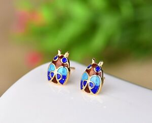 Chinese-Vintage-Cloisonne-Blue-bettle-insect-Handmade-Stud-Earrings-925-Silver