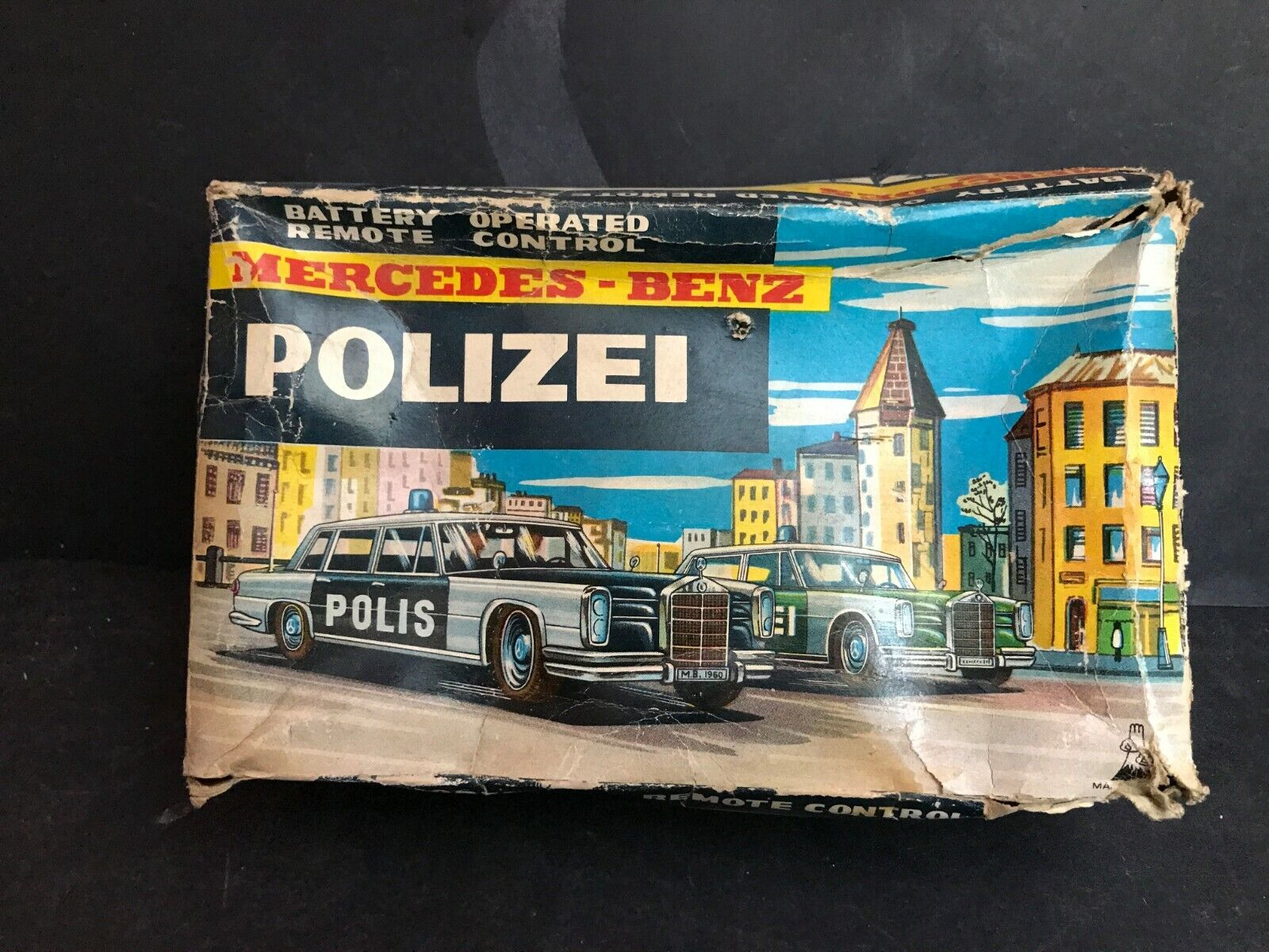 MERCEDES BENZ POLIZEI auto giocattolo di latta battery operated Japan
