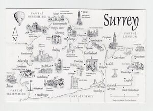 Mint-Map-Postcard-of-Surrey-by-Crossroads-Postcards