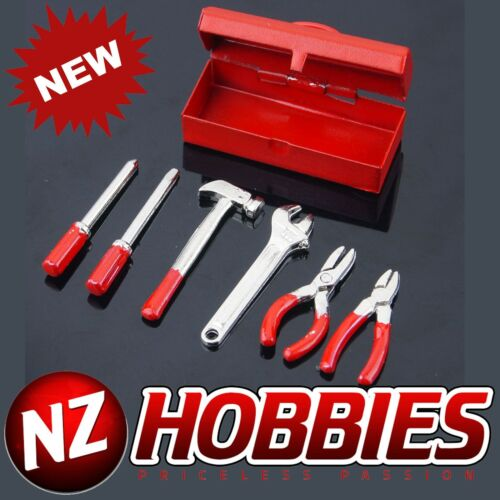 NZHOBBIES Realistic 1//10 Rock Crawelr Scale Accessory Metal Tool Box Red