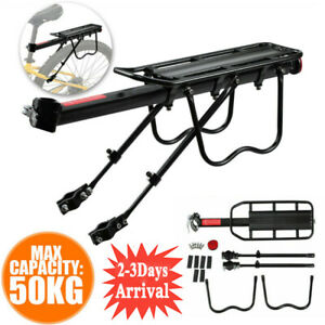 50kg Max Alloy Rear Bicycle Pannier Rack Carrier Bag Luggage Cycle Mountain Bike
