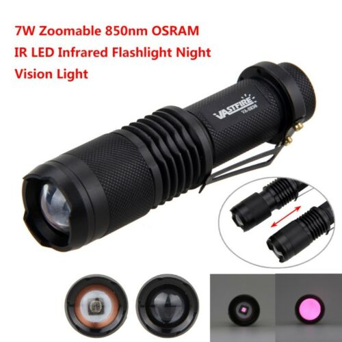 Zoomable 850nm IR LED Infrarouge Vision Nocturne Lumière Lampe de Poche Torche