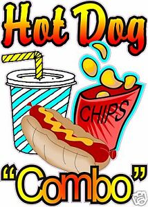 """Hot Dog Combo Restaurant Concession Cart Food Decal 14/"""""""