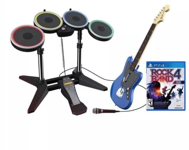 Rock Band 4 Rivals Band Kit Bundle Drums Guitar Microphone for PS4 USED!