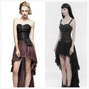 PUNK-RAVE-Steampunk-Lace-Pleated-Elegant-Retro-Tube-Top-Asymmetric-Hem-Dress
