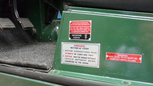 Land Rover Série 2 3 Cache-culbuteur Patent information Plaque d/'Immatriculation Châssis ID