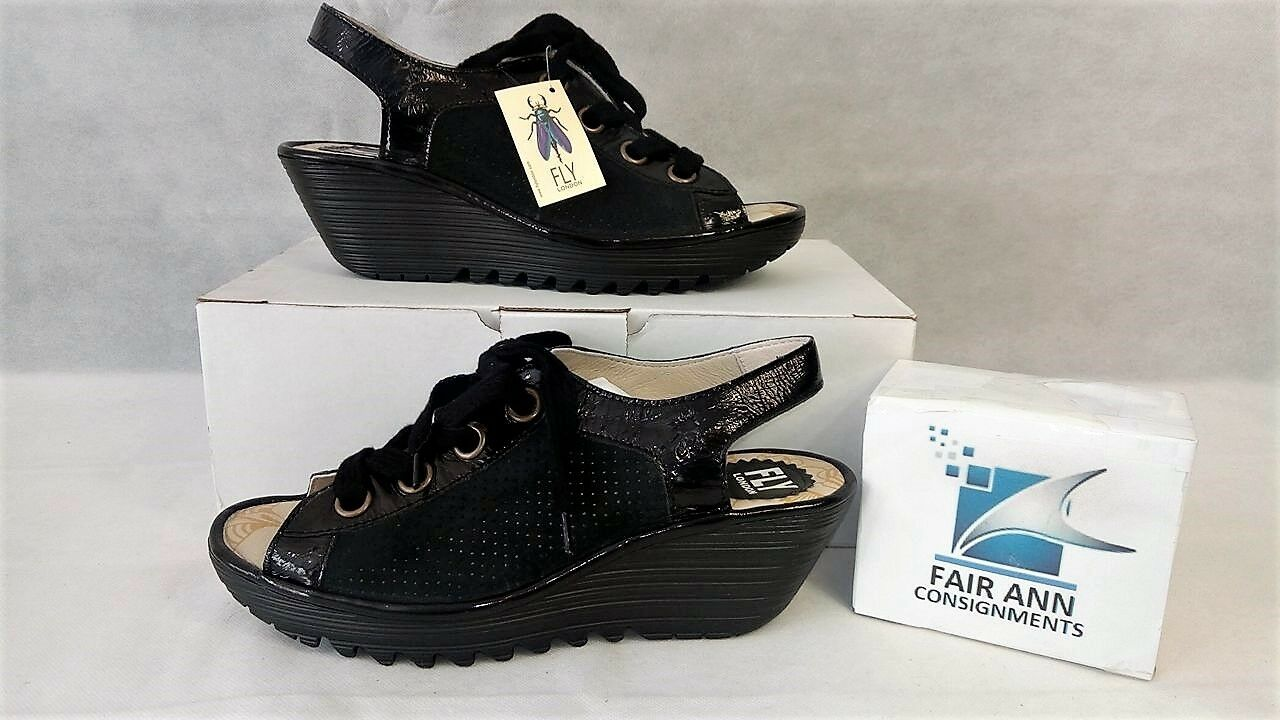 FLY London Peep-toe Perforated Lace-up Sandals Yuta Black Patent EU 38 US 7.5NEW