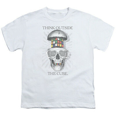 NEW Boys Licensed Rubiks Cube Skull Graphic Cotton T-Shirt Tee Size 4-5